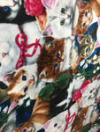 "David Textiles Fleece Printed Fabric - Garden Cats By Jenny Newland Art - 60"" Width Sold By The Yard"