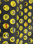 "Emoticons Emojis Charcoal By Baum Textile Mills Fleece Printed Fabric - 60"" Width By The Yard"