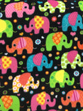 "Disco Elephants By Baum Textile Mills Fleece Printed Fabric - 60"" Width By The Yard"