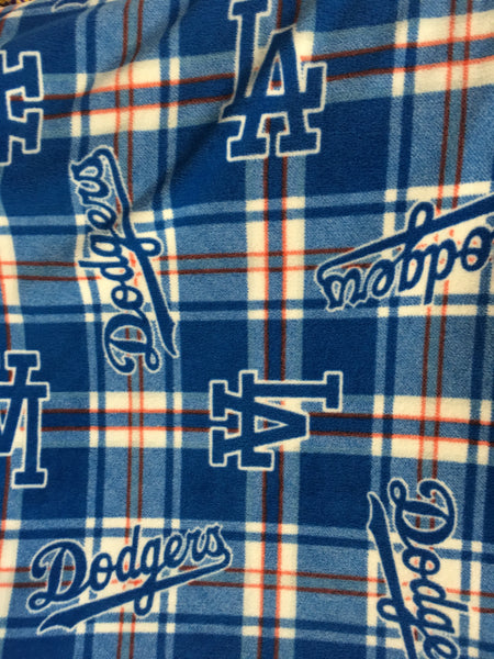 "Baseball MLB Los Angeles Dodgers Plaid By Fabric Traditions Polar Fleece Fabric - 60"" Width Sold By The Yard"