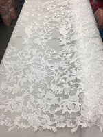 Sold By The Yard White Lace Fabric Corded Flowers Embroidery With Leafs For Wedding Dress