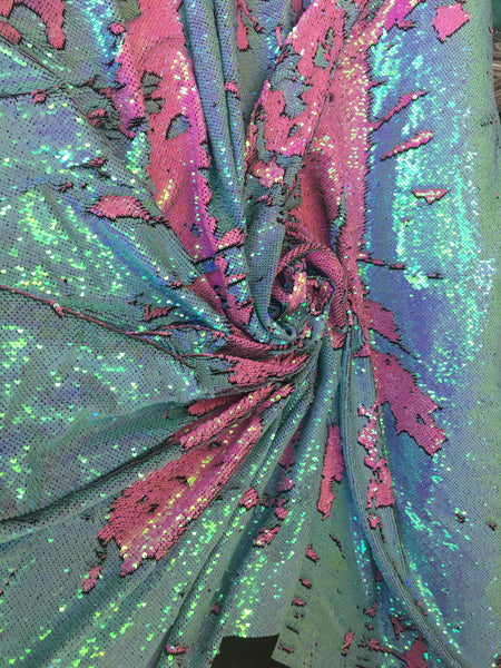 New Unicorn Aqua Blue Hot Pink Iridescent Both SidesNewTwo Tone Flip up Sequins/Reversible Sequins Fabric Sold By The Yard