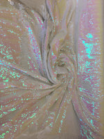 New Unicorn White Pink Iridescent Both SidesNewTwo Tone Flip up Sequins/Reversible Sequins Fabric Sold By The Yard