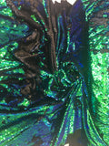 New Unicorn Green Black Iridescent Both SidesNewTwo Tone Flip up Sequins/Reversible Sequins Fabric Sold By The Yard