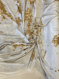 New Unicorn Gold White Iridescent Both SidesNewTwo Tone Flip up Sequins/Reversible Sequins Fabric Sold By The Yard
