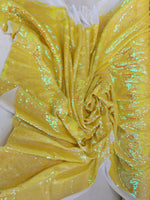 New Unicorn Yellow/Yellow Iridescent Both SidesNewTwo Tone Flip up Sequins/Reversible Sequins Fabric Sold By The Yard