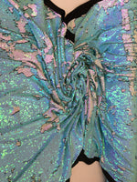 New Unicorn Aqua Blue White Pink Iridescent Both SidesNewTwo Tone Flip up Sequins/Reversible Sequins Fabric Sold By The Yard