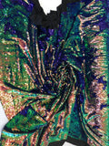 New Unicorn Royal Blue Green Iridescent Both SidesNewTwo Tone Flip up Sequins/Reversible Sequins Fabric Sold By The Yard