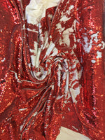 New Unicorn Red White Iridescent Both SidesNewTwo Tone Flip up Sequins/Reversible Sequins Fabric Sold By The Yard