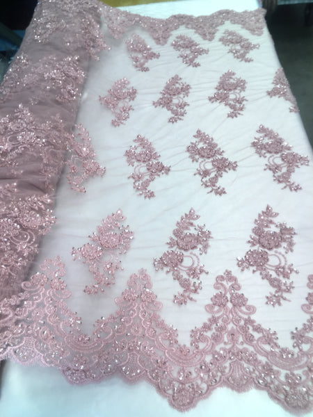 Shop Beaded Mesh Lace Fabric Lace By The Yard Embroidered Lace With Beads And Sequins French Bridal Veil Coral Blush