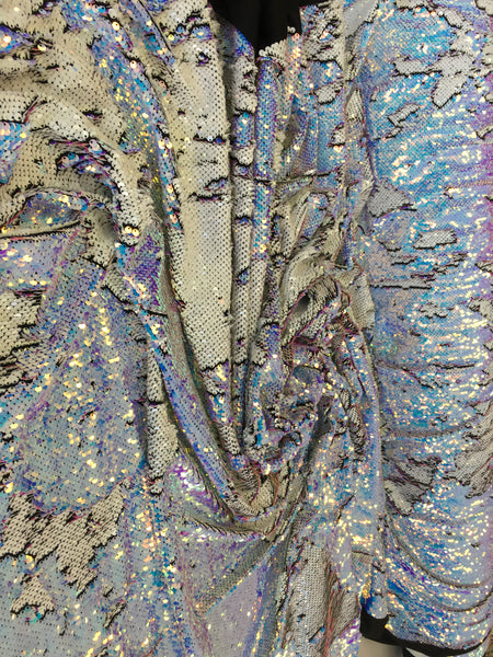 New Unicorn Aqua Blue White Lilac Iridescent Both SidesNewTwo Tone Flip up Sequins/Reversible Sequins Fabric Sold By The Yard