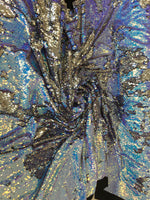 New Unicorn Aqua Blue Silver Lilac Iridescent Both Sides New Two Tone Flip up Sequins/Reversible Sequins Fabric Sold By The Yard