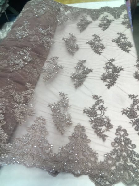 Shop Beaded Mesh Lace Fabric Lace By The Yard Embroidered Lace With Beads And Sequins French Bridal Veil Dusty Lilac