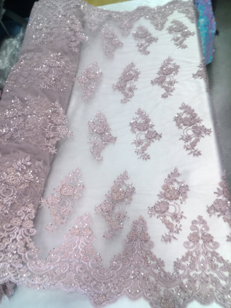 Shop Beaded Mesh Lace Fabric Lace By The Yard Embroidered Lace With Beads And Sequins French Bridal Veil Dusty Pink