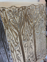 Angel Feathers Design Sequin Fabric Sold By Yard Silver/Dk Gold Metallic 4 Way Stretch Fabric Sequins Fabric Embroidered on Nude Power Mesh
