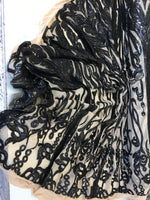 Angel Feathers Design Sequin Fabric Sold By Yard Black Metallic 4 Way Stretch Fabric Sequins Fabric Embroidered on Nude Power Mesh