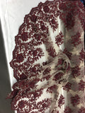 Luxury Designs Burgundy Embroider Beaded On Nude Mesh Dress Wedding Decoration Bridal Veil Nightgown By Yard