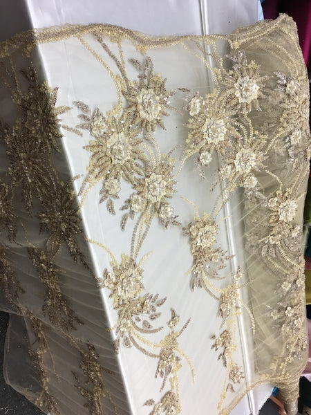 Champagne/Light Gold Luxury Designs 3D Flower/Floral Designs Beaded With Diamonds Fabric Lace Sold By Yard Embroidered Beaded On Mesh Fabric