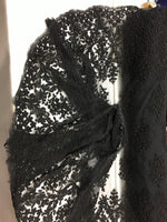 Luxury Designs Black Embroider Beaded On Nude Mesh Dress Wedding Decoration Bridal Veil Nightgown By Yard