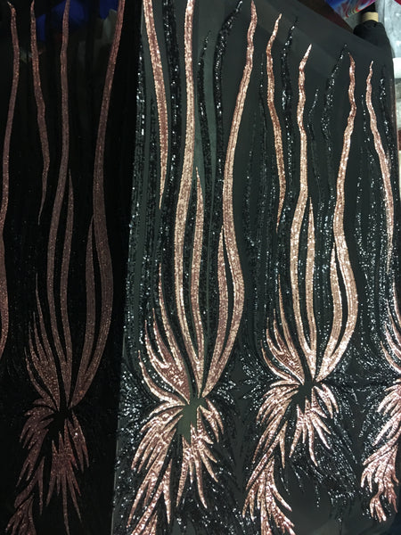 Rooster Feather Designs Sold By The Yard Hunter Green/Gold 4 Way Stretch Fabric Sequins Fabric Embroidered On Hunter Power Mesh Dress Top