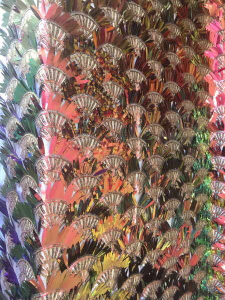 Arch Designs Sequins Purple/Peach/Coral Iridescent Multi Color Sequins With Leafs Design Holographic Sequin On Mesh Fabric. Sold By The Yard