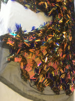 Arch Designs Sequins Royal Blue/Coral Iridescent Multi Color Sequins With Leafs Design Holographic Sequin On Mesh Fabric. Sold By The Yard