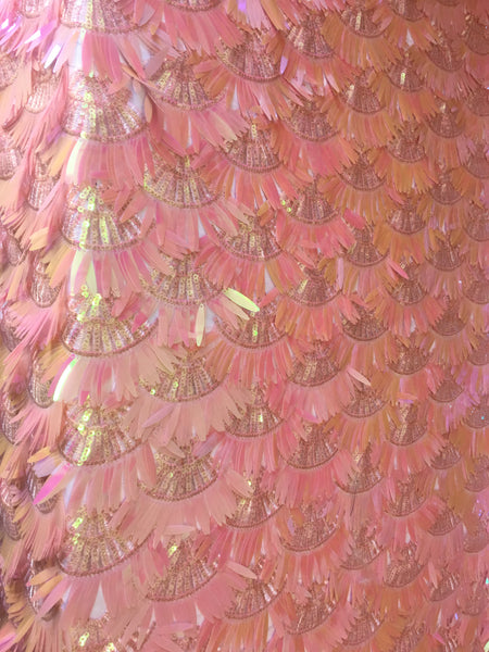 Arch Designs Sequins Pink Iridescent Multi Color Sequins With Leafs Design Holographic Sequin On Mesh Fabric. Sold By The Yard