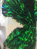 Arch Designs Sequins Green Iridescent Multi Color Sequins With Leafs Design Holographic Sequin On Mesh Fabric. Sold By The Yard