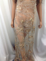 Italiano Designs Beaded Mesh Lace Fabric Bridal Wedding Taupe. Sold By Yard