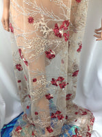 Italiano Designs Beaded Mesh Lace Fabric Bridal Wedding Red. Sold By Yard