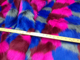 "FAUX FAKE FUR 4 TONE CLOWN DESIGN LONG PILE FABRIC 60"" WIDTH SOLD BY YARD"