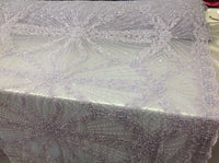 Bridal Beaded Fabric By The Yard Lavender Lace Heavy Beads For Bridal Veil Flower Mesh Dress Top Wedding Decoration