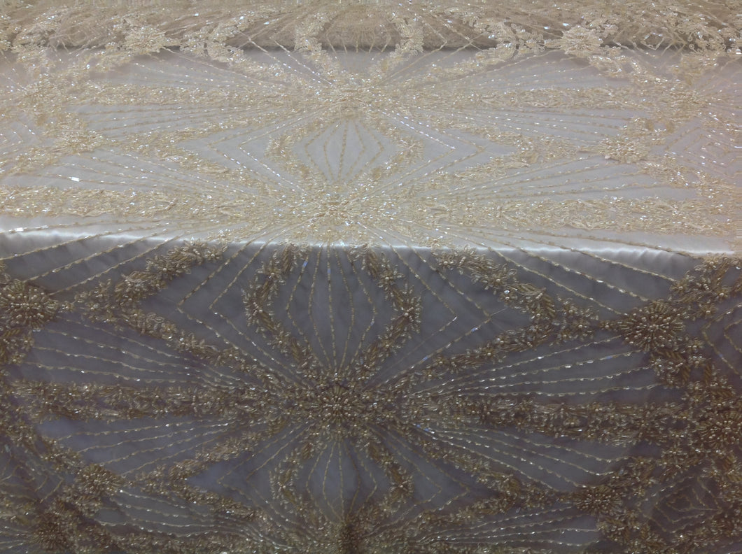 Bridal Beaded Fabric By The Yard Cream Lace Heavy Beads For Bridal Veil Flower Mesh Dress Top Wedding Decoration