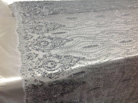 Bridal Beaded Fabric By The Yard Silver Lace Heavy Beads For Bridal Veil Flower Mesh Dress Top Wedding Decoration