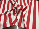 "2"" STRIPE DECK OUTDOOR FABRIC WATERPROOF AWNING TENT CANVAS BY YARD RED WHITE"