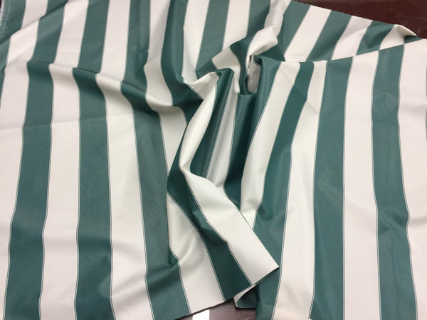 "2"" STRIPE DECK OUTDOOR FABRIC WATERPROOF AWNING TENT CANVAS BY YARD GREEN/IVORY"