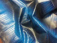 DRAGON GATOR UPHOLSTERY VINYL FABRIC - Aquamarine Blue - BY YARD 2 TONE LUXURY