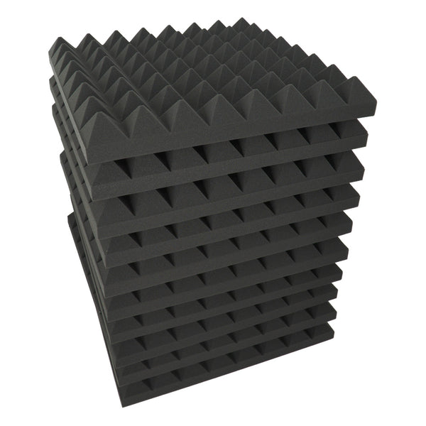 "24 Pack - Acoustic Foam Sound Absorption Pyramid Studio Treatment Wall Panels, 2"" X 12"" X 12"""