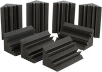 Professional Acoustic Foam Acoustic Bass Trap, 8-pack - 12x12x24 Charcoal