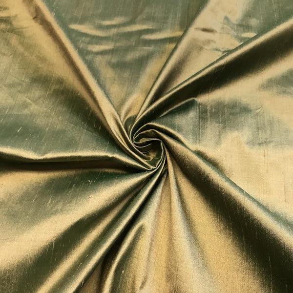 "100% Pure Silk Shantung Fabric 54""Wide BTY Drape Blouse Dress Craft Sold By The Yard. Metallic Green"