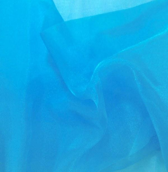 "Crystal Sheer Organza Fabric for Fashion, Crafts, Decorations 58"" By the Yard Turquoise"