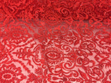 Jerusalem's Beaded Fabric - Embroidery on Polyester Mesh Wedding Dress Red By The Yard