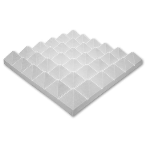 "Professional Acoustics Foam White Acoustic Foam 2"" Thick Pyramid Style 4ft X 8ft"