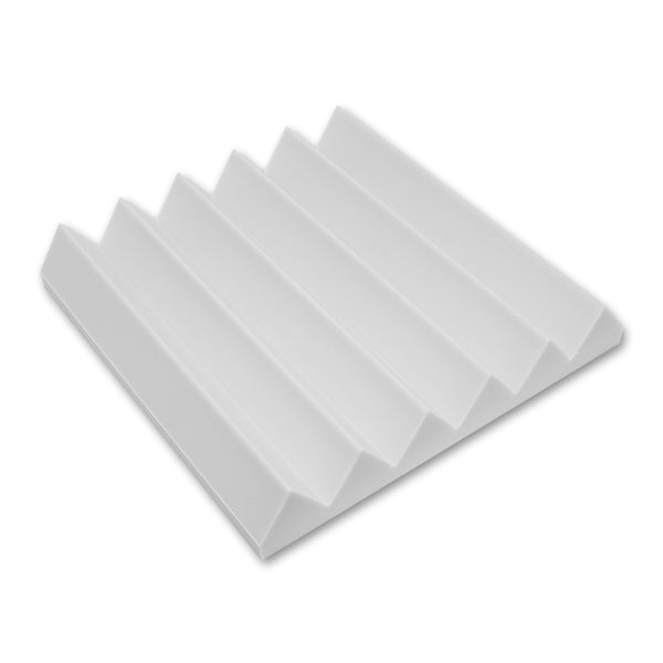 "12 Pack - White Acoustic Foam Sound Absorption Wedge Studio Treatment Wall Panels, 2"" X 12"" X 12"""