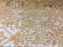 Load image into Gallery viewer, Jerusalem's Beaded Fabric - Embroidery on Polyester Mesh Wedding Dress Gold By The Yard