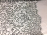 Jerusalem's Beaded Fabric - Embroidery on Polyester Mesh Wedding Dress Silver By The Yard