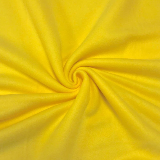 "Solid Polar Fleece Anti-Pill Fabric Sold By Yard 60"" Width Winter Polar Blankets Covers 2 Sided Brushed. YELLOW"