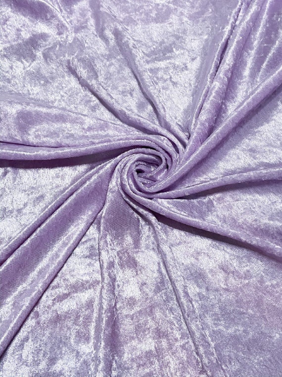 "Velvet Panne Crushed Backdrop Velour Stretch Fabric 60"" Wide By Yard, Draping, Curtains, Appeal Dresses 100% Polyester Lavender"
