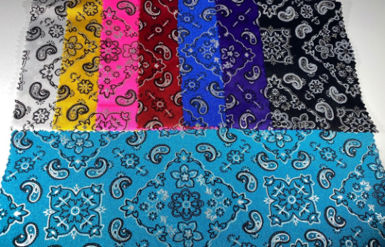 "Bandanna Paisley Design Print on Lycra Nylon Spandex with Silver Foil 4-Way Stretch 58/60"" Sold by Yard. Select Color Below"