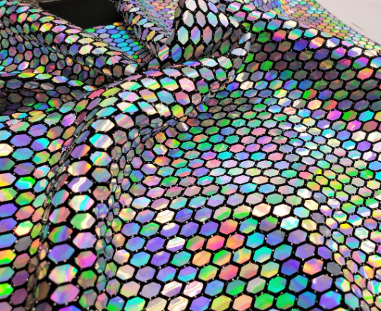 Honeycomb Iridescent Sequins on Spandex -- 58/60 Inch Wide -- Sold by Yard